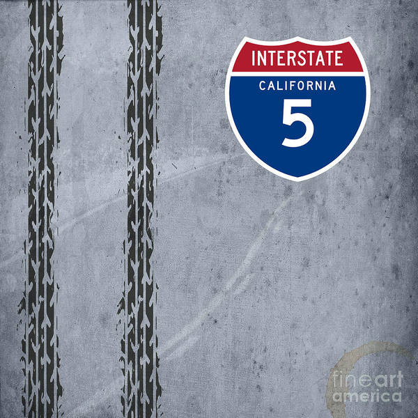 Interstate 5 Wall Art - Painting - Interstate 5, California by Drawspots Illustrations