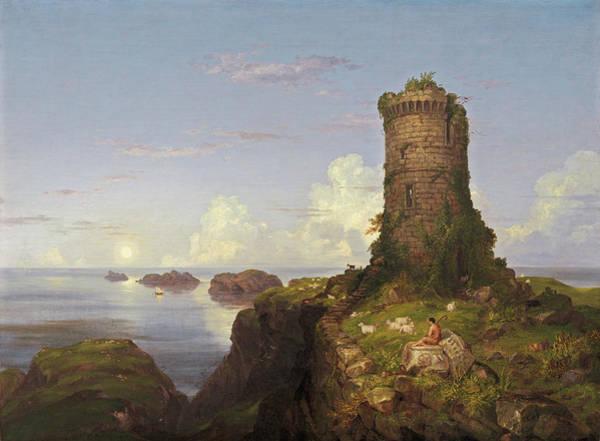 Italian Painters Wall Art - Painting - Italian Coast Scene With Ruined Tower by Thomas Cole
