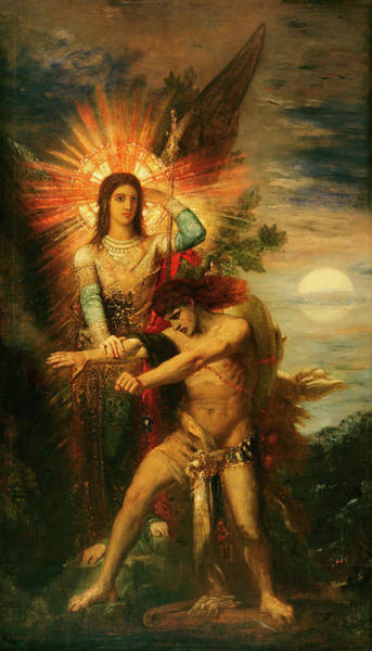Wall Art - Painting - Jacob And The Angel by Gustave Moreau