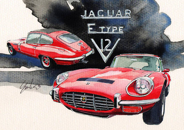 Jaguar Painting - Jaguar E Type by Yoshiharu Miyakawa