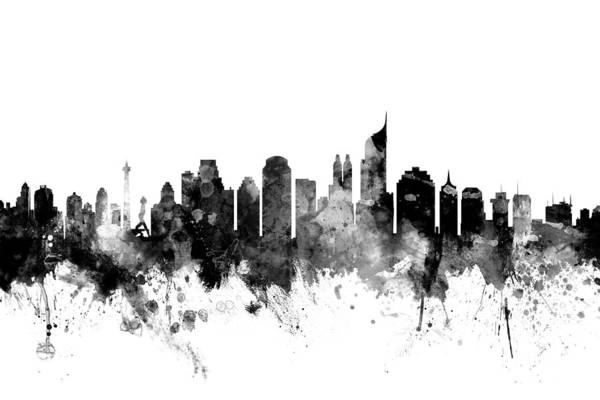 Indonesia Digital Art - Jakarta Skyline Indonesia by Michael Tompsett