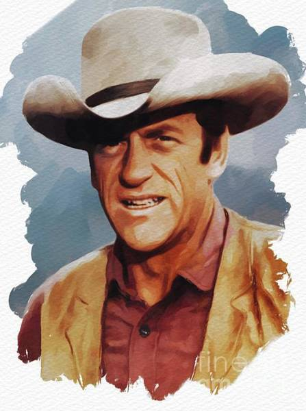 Wall Art - Painting - James Arness, Actor by Mary Bassett