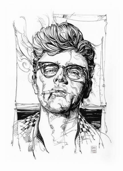 Inking Wall Art - Drawing - James Dean Inking by Garth Glazier