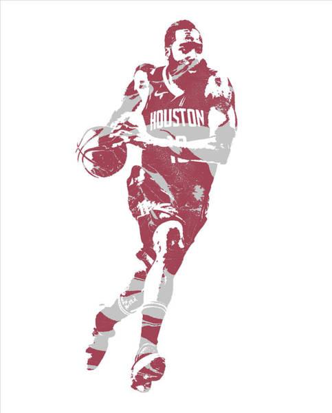 Wall Art - Mixed Media - James Harden Houston Rockets Pixel Art 60 by Joe Hamilton