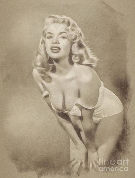 Pinewood Drawing - Jayne Mansfield, Vintage Hollywood Actress And Pinup By John Springfield by John Springfield
