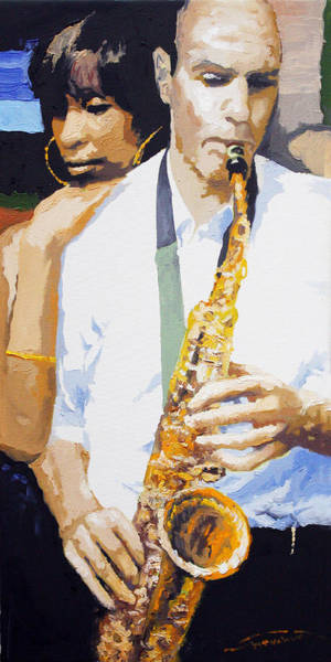 Wall Art - Painting - Jazz Muza Saxophon by Yuriy Shevchuk