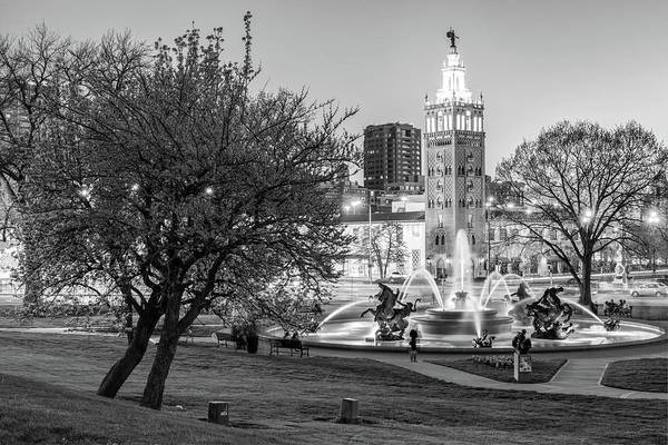 Country Club Plaza Photograph - J.c. Nichols Memorial Fountain In Spring - Black And White - Kansas City Missouri by Gregory Ballos