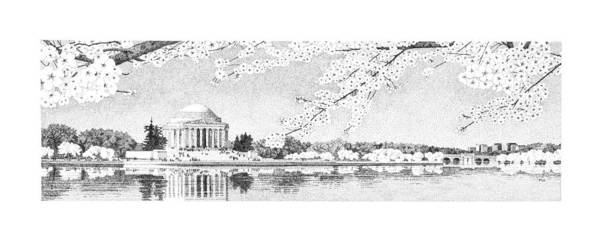 Beautiful Park Drawing - Jefferson Memorial by Philip LeVee