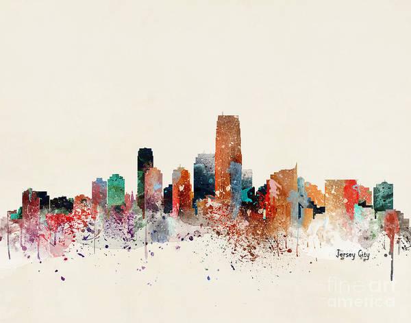 Wall Art - Painting - Jersey City Skyline by Bri Buckley