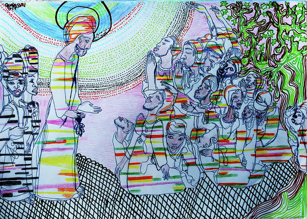 Painting - Jesus Meets Zaccheus by Gloria Ssali