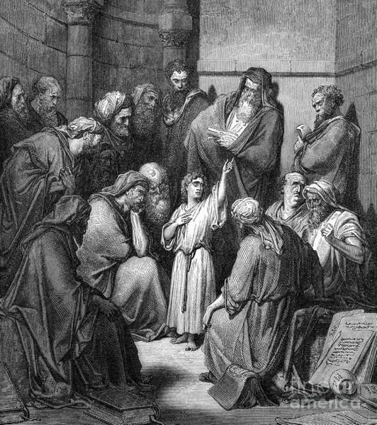Wall Art - Drawing - Jesus Questioning The Doctors by Gustave Dore