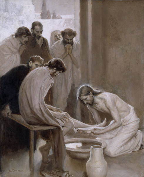 Disciple Wall Art - Painting - Jesus Washing The Feet Of His Disciples by Albert Edelfelt