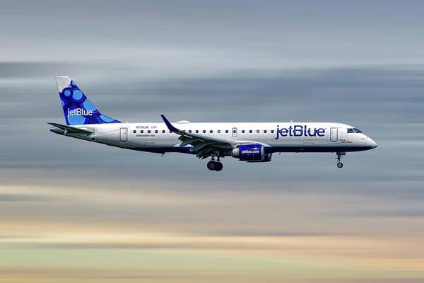 Jetblue Wall Art - Mixed Media - Jetblue Airways Embraer Erj-190ar by Smart Aviation