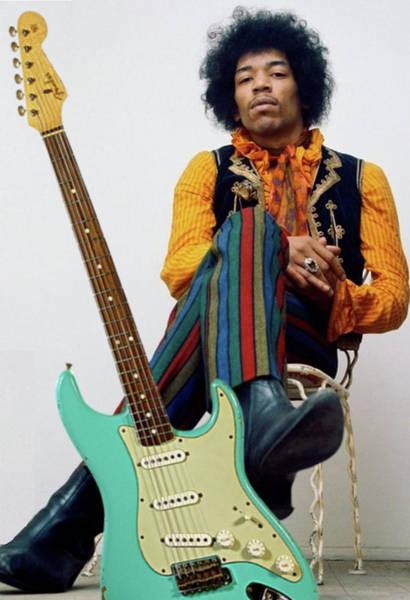St Louis Cardinals Mixed Media - Jimi Hendrix, Fender Guitar by Thomas Pollart