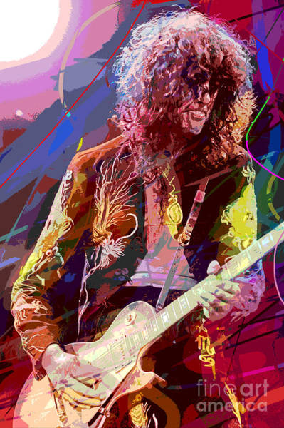 Electric Blues Painting - Jimmy Page Les Paul Gibson by David Lloyd Glover
