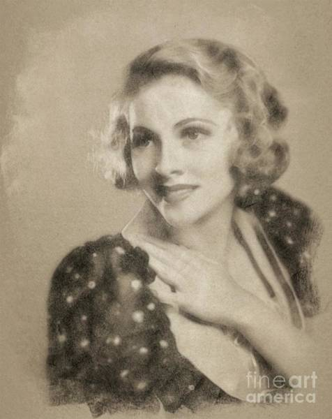 Pinewood Drawing - Joan Fontaine, Vintage Actress By John Springfield by John Springfield