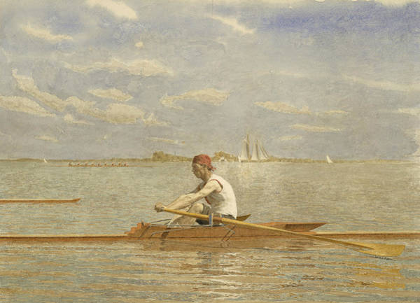 Single Drawing - John Biglin In A Single Scull by Thomas Eakins