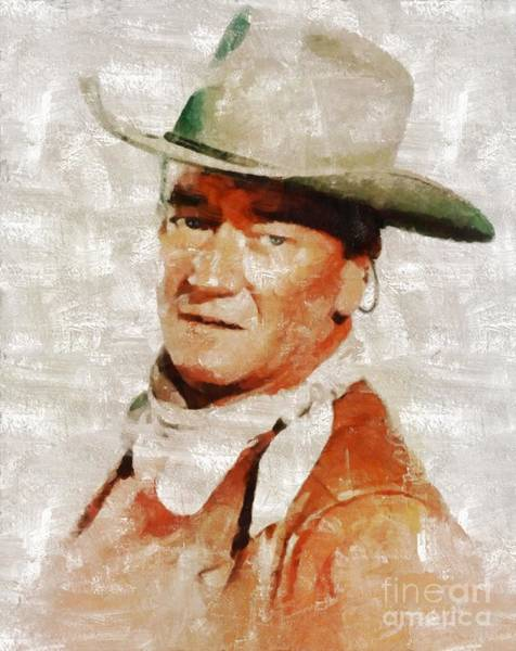 Cowboy Movie Wall Art - Painting - John Wayne By Mary Bassett by Mary Bassett