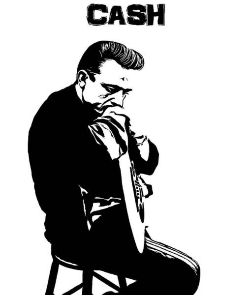 Wall Art - Digital Art - Johnny Cash Black And White by Dan Sproul