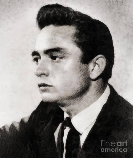 Johnny Cash Painting - Johnny Cash, Singer by John Springfield