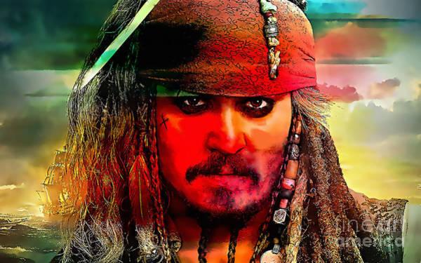 Sparrow Mixed Media - Johnny Depp Painting by Marvin Blaine