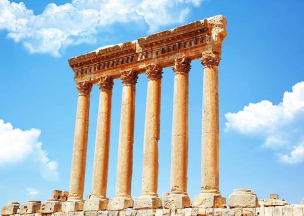 Roman Fort Photograph - Jupiter's Temple Baalbek Lebanon by Anna Om