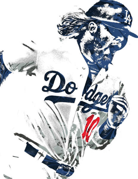 Wall Art - Mixed Media - Justin Turner Los Angeles Dodgers Pixel Art by Joe Hamilton