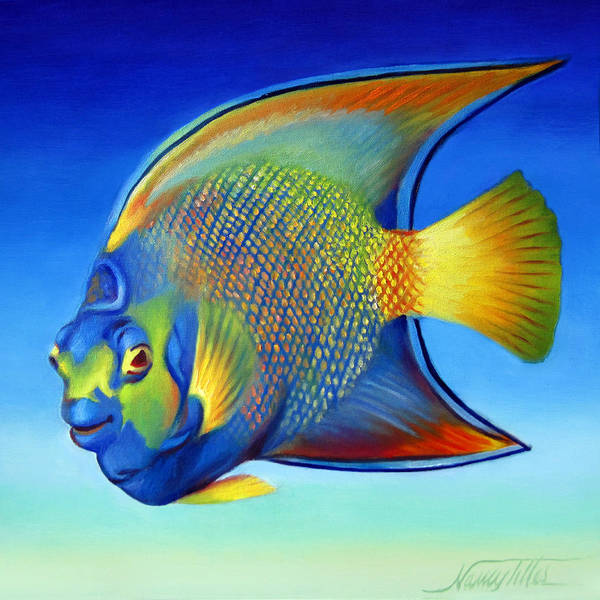 Wall Art - Painting - Juvenile Queen Angelfish by Nancy Tilles