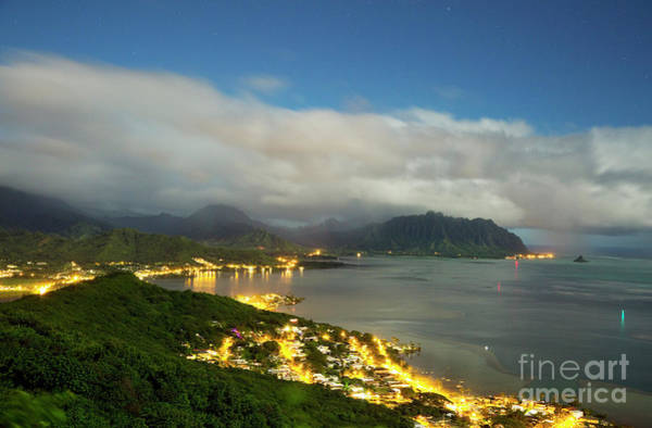 Photograph - Kaneohe At Night by Charmian Vistaunet