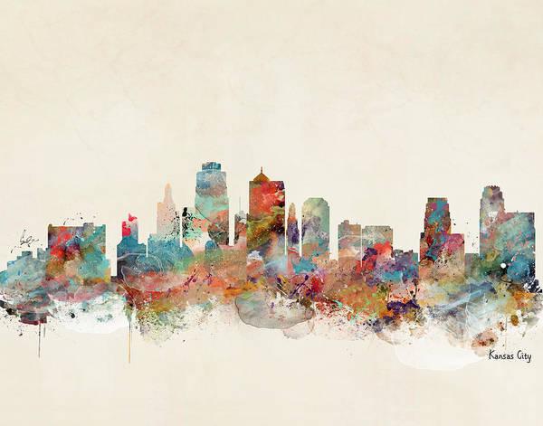 City Map Painting - Kansas City Missouri Skyline by Bri Buckley