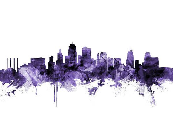 Purple Digital Art - Kansas City Missouri Skyline by Michael Tompsett