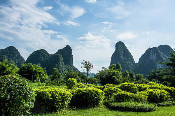 Photograph - Karst Mountains Scenery by Carl Ning