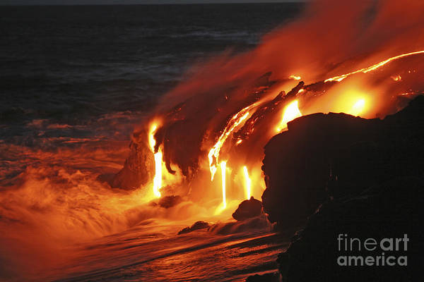 Wall Art - Photograph - Kilauea Lava Flow Sea Entry, Big by Martin Rietze