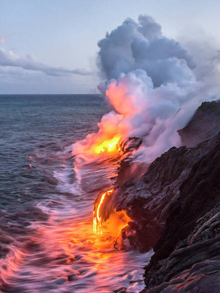 Entry Photograph - Kilauea Volcano Lava Flow Sea Entry 7 - The Big Island Hawaii by Brian Harig