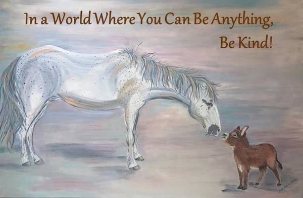 Donkey Painting - Kindness Matters by Linda Brown Sheehan