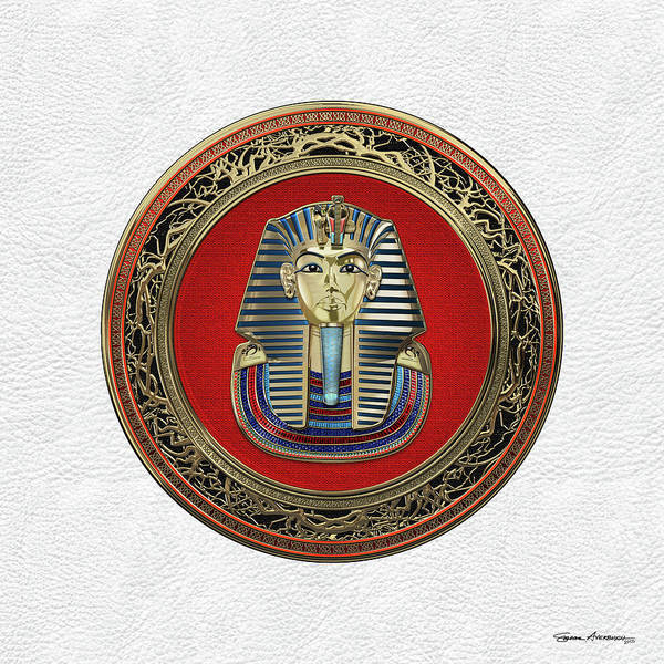 Amulet Digital Art - King Tut -tutankhamun's Gold Death Mask Over White Leather by Serge Averbukh