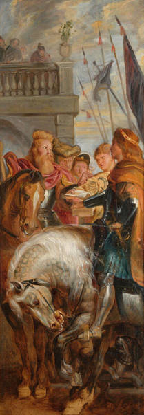 Wall Art - Painting - Kings Clothar And Dagobert Dispute With A Herald by Peter Paul Rubens