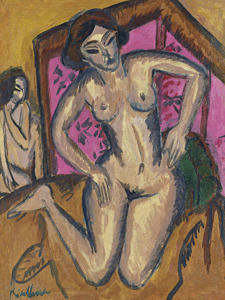 Painting - Kneeling Nude In Front Of Red Screen by Ernst Ludwig Kirchner