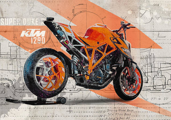 Enduro Wall Art - Digital Art - Ktm 1290 Super Duke R by Yurdaer Bes
