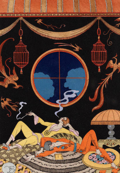Opium Den Painting - La Paresse by Georges Barbier