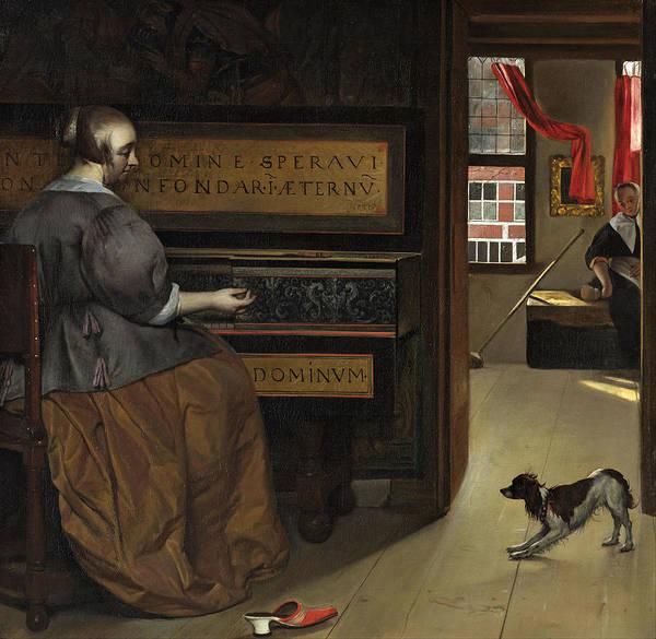 Gabriel Painting - Lady At A Virginal by Gabriel Metsu