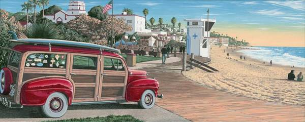Surfer Painting - Laguna Beach Woodie by Andrew Palmer