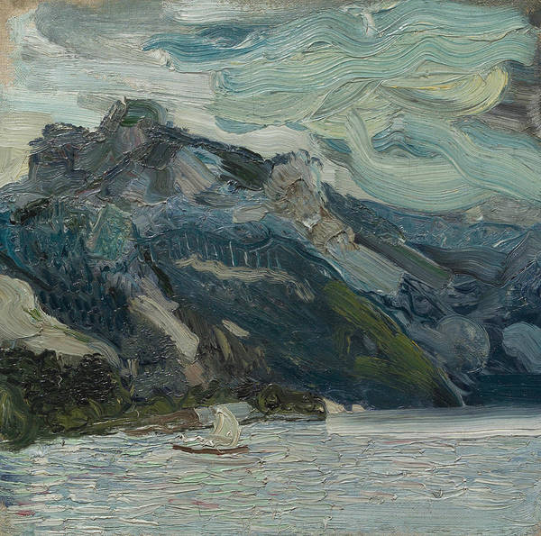 Painting - Lake Traun With Mountain Sleeping Greek Woman by Richard Gerstl