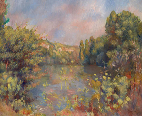 Waterway Painting - Lakeside Landscape by Pierre-Auguste Renoir