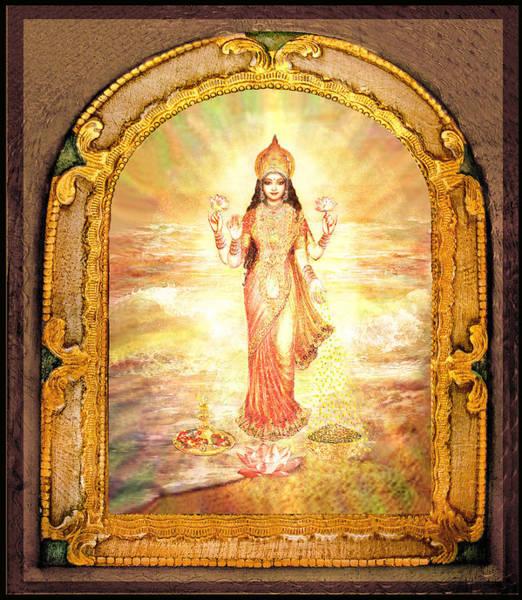 Wall Art - Mixed Media - Lakshmis Birth From The Milk Ocean by Ananda Vdovic
