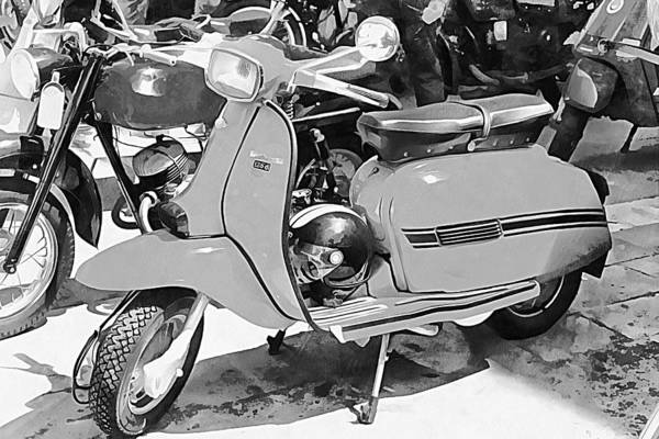 Photograph - Lambretta Scooter Black And White by Dorothy Berry-Lound