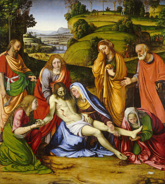Crossed Legs Painting - Lamentation by Andrea Solario