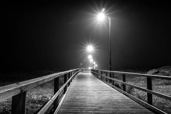 Photograph - Lamplit Walkway. by Gary Gillette