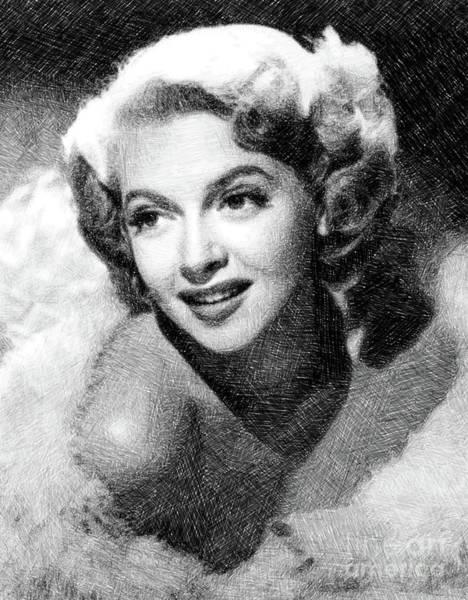 Pinewood Drawing - Lana Turner, Vintage Actress By Js by John Springfield