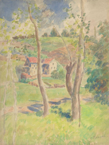 Impressionistic Drawing - Landscape by Camille Pissarro